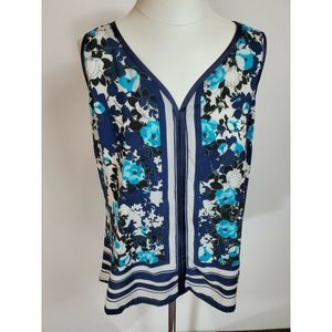 New york & Company Sleeveless Floral Top Large